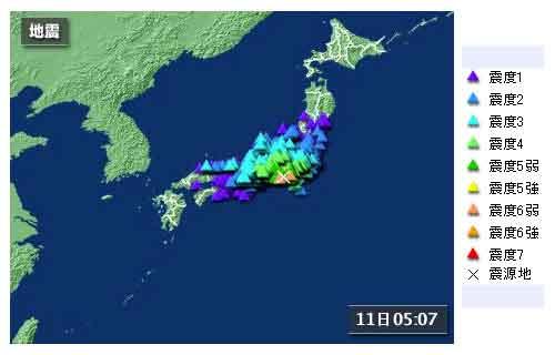 【全国の地震情報】2009年8月11日5時07分ごろ発生 最大震度6弱 震源地:駿河湾