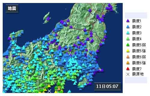 【関東・信越地方の地震情報】2009年8月11日5時07分ごろ発生 最大震度6弱 震源地:駿河湾