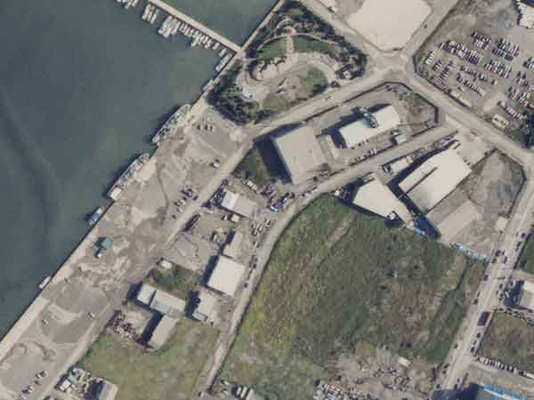 竹内埠頭の液状化:竹内埠頭(竹内団地北岸)の背後のコンクリート上にみえる灰色の部分は、液状化による噴砂の堆積した箇所である。(2000年10月7日撮影)