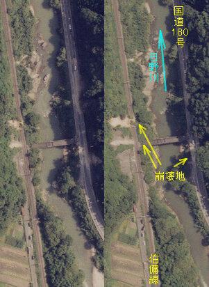 鳥取県日野町下黒坂地区での斜面崩壊:日野町下黒坂地区では、日野川両岸で斜面崩壊が発生し、JR伯備線と国道180号が被災した(写真左側が北方向)。(2000年10月7日撮影)