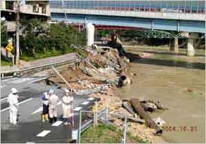 武庫川(生瀬橋周辺)の被害状況(西宮市塩瀬町):淡路地域では、24時間雨量が300~350mmを超える地域が島内に広く分布し、特に20日6時~18時の12時間に集中して降った。洲本における24時間雨量は317mm、3時間最大雨量で147mmに達した。 また、但馬地域においては、20日の8時~22時の間に、24時間雨量が200mmを超える雨が集中的に降った。特に、円山川の上流域にあたる出石川や奈佐川流域においては24時間雨量が250mmを超えた。 県内の被害状況は、死者26名(死因:土砂崩れ5名、水死18名、その他3名)、負傷者(重症)43名、負傷者(軽症)92名、家屋全壊783戸、半壊7,142 戸、一部損壊1,506戸、床上浸水1,745戸、床下浸水9,058戸などであった。