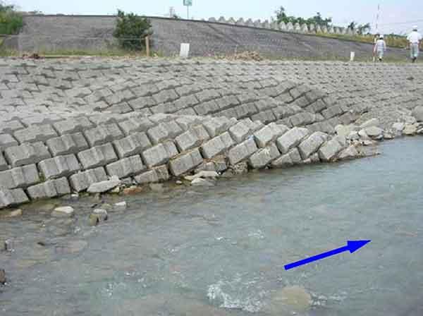 護岸被災状況 :大型で非常に強い台風23号は、10月20日の朝にかけてその強さを増し、土器川流域において同日午後6時頃には50mm/hr以上の強い雨を記録しました。土器川流域では、川奥雨量観測所で日雨量約280㎜、祓川橋流量観測所で戦後最大の約1,040m3/sを記録しました。土器川では、護岸崩壊2か所、河岸侵食、橋脚周辺の洗掘等が多発し、まんのう町の常包橋下流付近で再び水があふれ(溢水はん濫0.2ha)、住民が自主避難しました。さらに、丸亀市では、支川はん濫による家屋浸水(床上75戸、床下142戸)が発生しました。なお、県下では床上浸水294戸、床下浸水1,486戸に及びました。