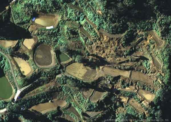 山古志村虫亀地区:地すべり地特有の棚田上には、多数の養殖池が作られている。この写真を見ると、そのほとんどに水は残っていないことがわかる。地震による振動であふれ出たか、土手の決壊で流出した可能性がある。(2004年10月24日撮影)