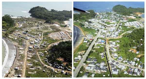 3年後の大津波被災地:2004年12月26日に発生したインド洋大津波で被災したインドネシア・アチェ州の町カランの航空写真。左は2005年8月3日、右は2007年12月14日にそれぞれ撮影