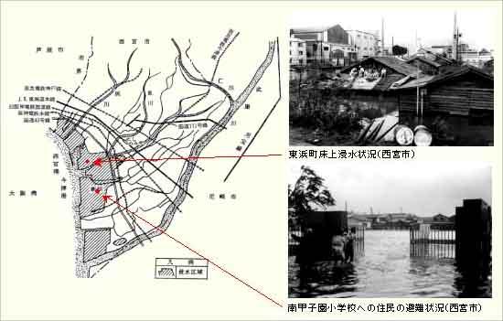 西宮市の高潮による被害:25日5時前に岡山県南部に達し、佐用町から北東に兵庫県内を縦断して若狭湾に抜けました。速度が速く、上陸時に、950mb台の強い勢力を保っていたことから、九州、四国方面は記録的な風台風となりました。 西宮市や相生市大谷川流域で高潮による被害を受けました。
