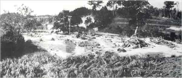 淡路島の小河川はどれもが増水し河川沿の田畑民家に大きな被害を与えた。この広石川でも御覧の通り(洲本市[旧五色町]広石付近):【台風23号】台風23号は10日8時に高知県安芸市に上陸、10時30分頃には相生市付近に再上陸した後、豊岡市の南を経て日本海に抜けた。兵庫県南部は台風の右半円に入ったため南よりの暴風が吹き、家屋の全壊、屋根瓦の飛散、また沿岸では、波浪、高潮による大きな災害があった。兵庫県内の被害状況は、死者20人、負傷者381人、床上浸水4,470戸、床下浸水14,165戸などであった。【秋雨前線・台風24号】台風24号の影響を受けて停滞した秋雨前線の活動が活発化した。また、湿舌が紀伊水道から若狭湾にかけて集中的に侵入し、兵庫県では連日豪雨が降った。台風は17日午後潮岬をかすめて、夜半頃に渥美半島へ上陸した。兵庫県内の被害状況は、死者16人、行方不明者1人、負傷者59人、床上浸水9,088戸、床下浸水39,708戸などであった。