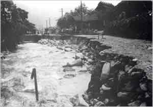 水谷川氾濫による町道上野水谷線崩壊(宍粟市[旧波賀町]上野付近):本州の南方から北上してきた強い台風は、21日8時頃に高知県佐賀町付近に上陸した。その後、四国西部を縦断して、愛媛県松山市、広島県呉市を経て、15時頃に島根県松江市付近から日本海へ抜けた。兵庫県では早朝から風が強まり、降水量は県南西部などで100~200mmとなり、西播地方では水害が発生した。兵庫県内の被害状況は、負傷者10名、家屋全壊5戸、半壊21戸、床上浸水147戸、床下浸水1,236戸などであった。