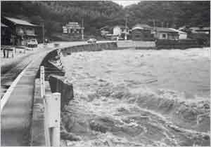 出石川の激流で県道法面の護岸が崩壊し片側通行になった(豊岡市[旧但東町]矢根付近):観測史上で最低気圧の870hpaを記録した台風は、18日には沖縄の東海上を北上した。淡路島ではこの頃から10m/s以上の東風が吹き始め、北緯30度線にさしかかった18日21時過ぎには1時間に20mm程度の強い雨が降り、日降水量も100mmを超える所が多くなった。台風は四国沖に接近するにつれて加速し、四国沖の前線が日本海側へ北上したため、強雨域の中心は次第に県北部に移ってきた。台風は19日9時40分頃に和歌山県白浜付近へ上陸した。台風が紀伊半島に上陸する頃に淡路島でも再び雨が強くなり、兵庫県北部と淡路島を中心に災害が発生し始めた。その後、台風は加速して中部・東海地方を通り、19日19時には青森県八戸市南東海上に抜けた。