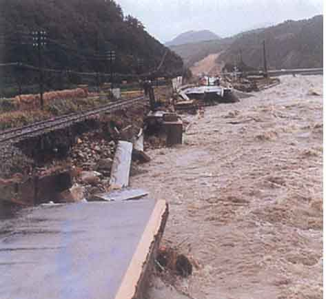 昭和54年10月台風20号による千代川河岸侵食状況:千代川において、流失全壊半壊15戸、床上床下浸水1,340戸の被害が発生