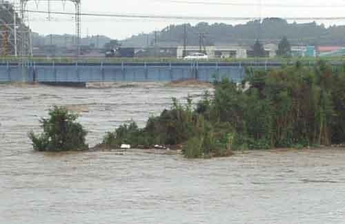 平成16年9月洪水 櫛田川右岸7.8k付近:各地で記録的な雨量を観測し、土砂災害が頻発したため死者・行方不明が7人となった。宮川中流部の無堤部から越水し、被災家屋数 303戸、浸水面積 174haなどの甚大な被害が発生した。