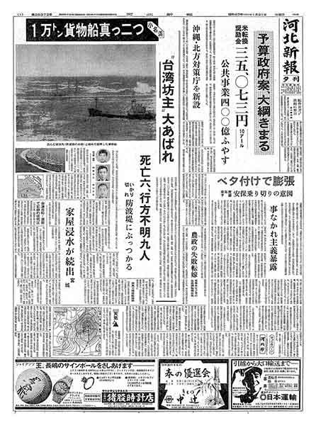 河北新報 昭和45年(1970年)1月31日(土曜日)夕刊
