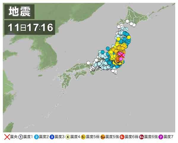 【全国の地震情報】2011年4月11日17時16分ごろ発生 最大震度6弱 震源地:福島県浜通り