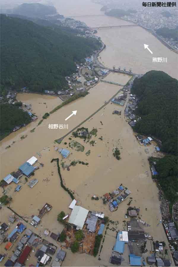 三重県南牟婁群紀宝町鮒田地区浸水状況:平成23年の台風12号によって紀伊半島にもたらされた大水害は、奈良・和歌山・三重の三県で死者72人、行方不明者16人を数えるなど、三県に被害が集中しました。家屋の崩壊や浸水等の住戸被害も多く、とくに熊野川下流域ではん濫等により新宮市では約110ヘクタール、紀宝町で約320ヘクタールと広範囲で浸水し、また国道および県道の通行止めは204箇所を数え、それに伴い18箇所の集落が孤立することとなりました。その後、交通アクセスの途絶や規制等により、三重県では観光客も減少、地域経済に大きな影響を与えました。