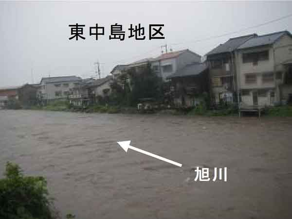 平成23年9月台風12号による旭川被災状況:旭川において、床上浸水135世帯、床下浸水4,445世帯の被害が発生