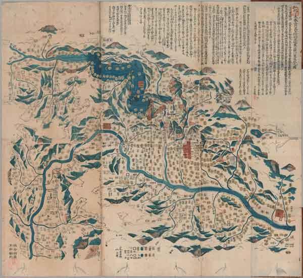 弘化丁未春三月廿四日信州大地震山頽川塞湛水之図