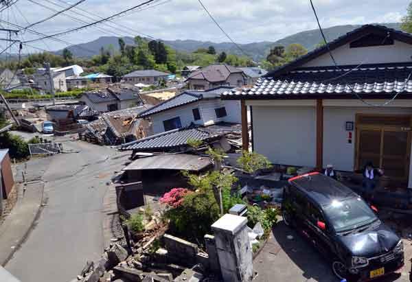 熊本地震:益城町で大きな被害