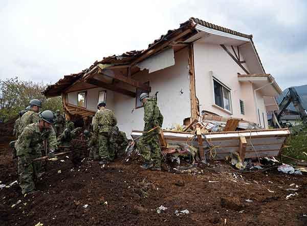 熊本地震:南阿蘇村で大きな被害