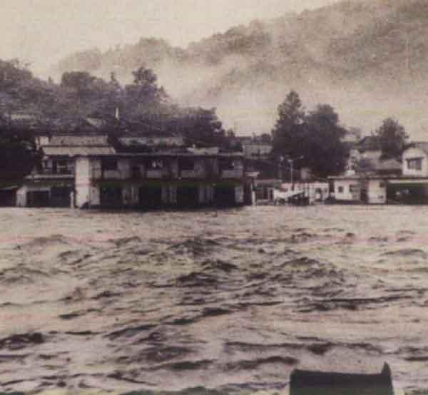 昭和47年7月梅雨前線による美咲町(旧柵原町)の浸水状況:吉井川において、死者・行方不明者3名、全壊流失13戸、床上浸水720戸、床下浸水2,329戸の被害が発生