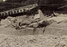 昭和47年7月梅雨前線による高津川派川の被災状況:高津川の観測史上最大の洪水