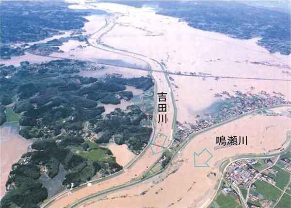 吉田川・鳴瀬川(昭和61年8月洪水):茨城県沖で台風10 号から変わった温帯低気圧が太平洋沿岸を北上し、宮城県平野部を中心に豪雨をもたらしました。吉田川においては直轄管理区間4 箇所で堤防が決壊し、旧鹿島台町(大崎市)を中心に最大12日間冠水(床上浸水約1,150 世帯、床下浸水約330 世帯、氾濫面積約3,580ha)しました。