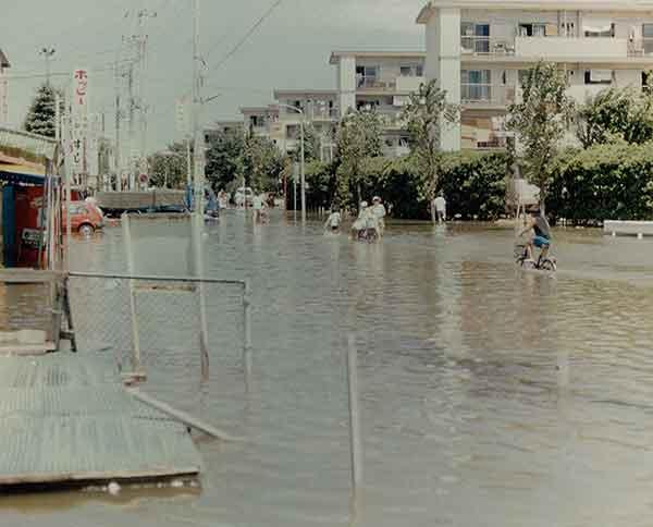 S61草加市 松原団地の浸水状況:昭和61年8月の台風10号により、綾瀬川では8月5日最高水位3.86mを記録しました。この出水に対し、各排水機場による排水運転、水防団による土のう積み等の水防活動が実施されましたが、草加市や越谷市など各地で溢水氾濫が生じ、甚大な被害が発生されました。特に草加市では、昭和57年9月の台風18号に次いで災害救助法が適用されました。この洪水で綾瀬川では3度目となる河川激甚災害対策特別緊急事業が採択されました。