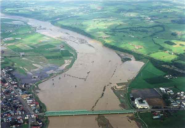 沙流川橋付近を下流から:<沙流川流域>平成15年8月洪水では、全川にわたって計画高水位を超過し、5,240m3/s(平取地点)の流量を観測し、死者3名、重傷者1名、家屋全壊10戸、半壊6戸、一部破損16戸、床上浸水79戸、床下浸水172戸の大きな被害を受けました。この洪水を契機に基本高水流量のピーク流量及び河川整備計画目標流量を変更しました。