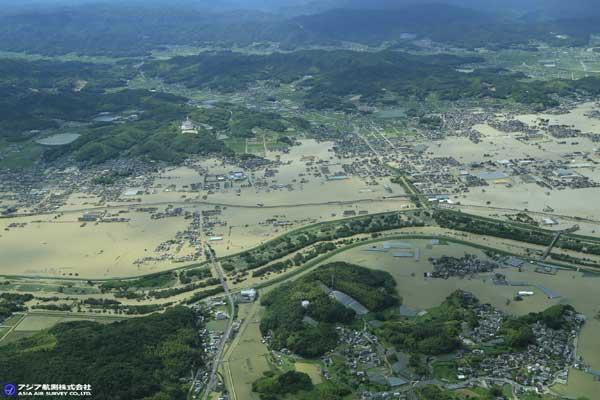 岡山県倉敷市真備町付近 小田川(2018年7月8日撮影)