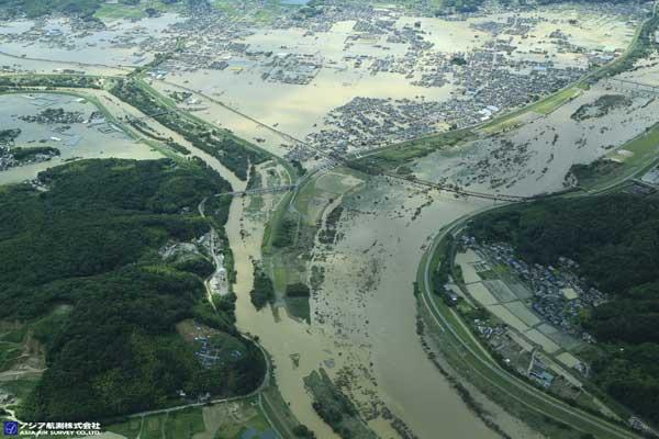 岡山県倉敷市真備町付近 高梁川と小田川の合流点付近(2018年7月8日撮影)