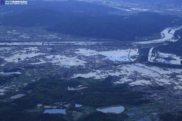 岡山県倉敷市真備町付近 鷲峰山上空から(2018年7月8日撮影)