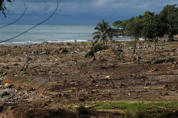 インドネシアで津波 噴火による地滑りで発生