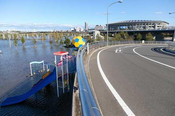 2019 ラグビーW杯 台風19号の影響で浸水した新横浜公園