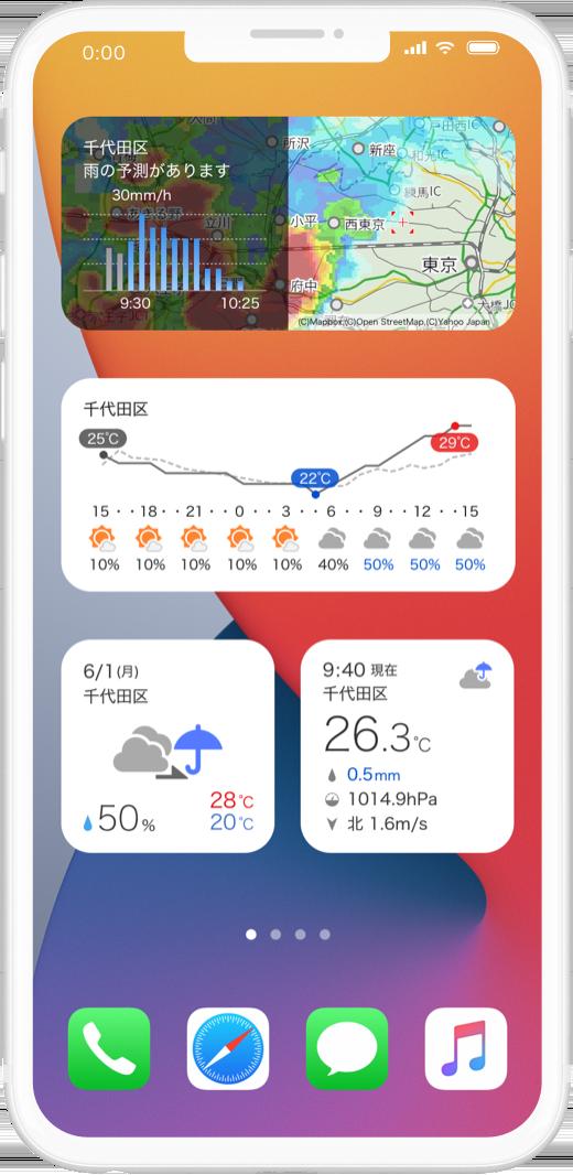 雨雲レーダーや気温グラフのウィジェットが表示できる