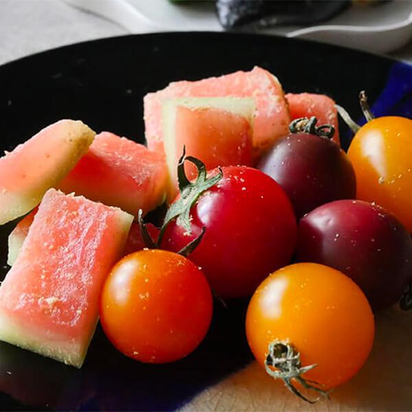 ミニトマトとスイカのぬか漬け