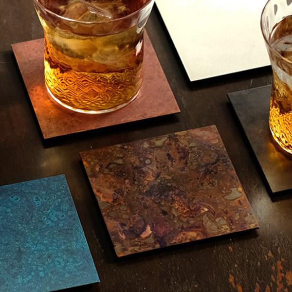 伝統工芸 銅コースター5枚組の写真