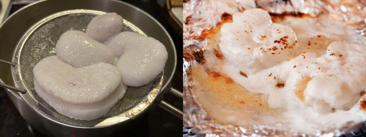 左が鍋で短時間火を通したもの右はホイル焼き