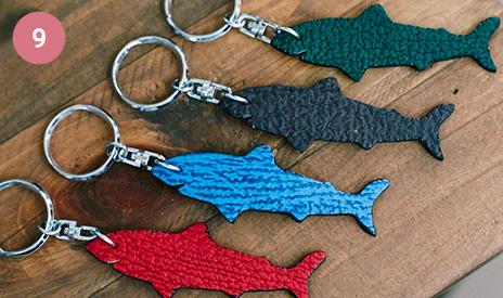 鮫革キーホルダー