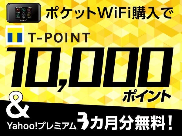 ポケットWi-Fi申込みで10,000ポイントもらえる&会員費最大3カ月無料