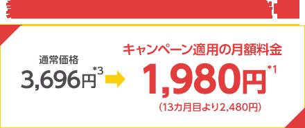 業界最安値級*2キャンペーン開催中! 通常価格3,696円*4 キャンペーン適用の月額料金1,980円*1 (13カ月目より2,480円)