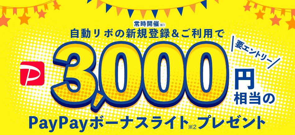 自動リボの新規登録&ご利用で3,000円相当のPayPayボーナスライトプレゼント(常時開催)