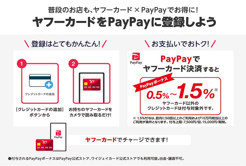 普段のお店も、ヤフーカード×PayPayでお得に! ヤフーカードをPayPayに登録しよう。お支払いでお得トク! PayPayでヤフーカード決済するとPayPayボーナス0.5〜1.5%。ヤフーカードでチャージできます。