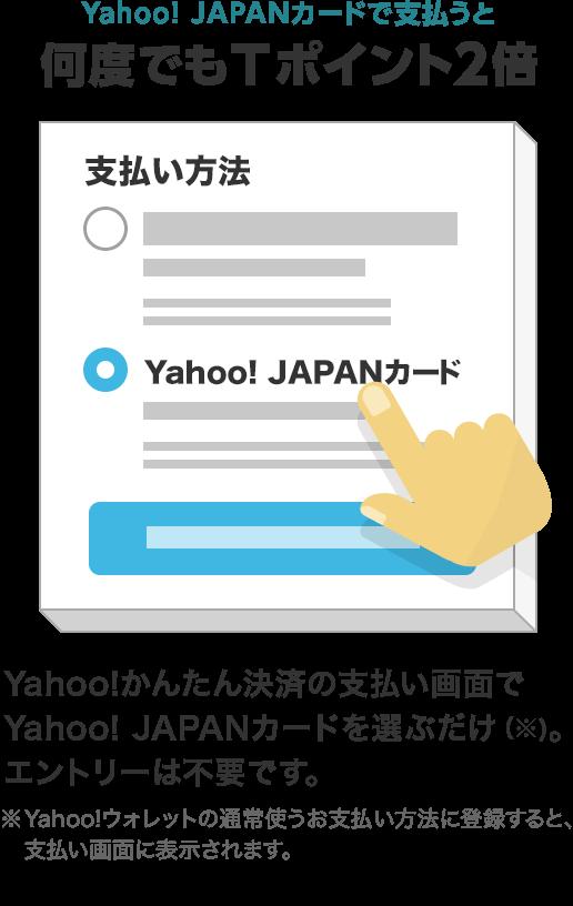 Yahoo! JAPANカードで支払うと何度でもTポイント2倍 Yahoo!かんたん決済の支払い画面でYahoo! JAPANカードを選ぶだけ(※)。エントリーは不要です。※Yahoo!ウォレットの通常使うお支払い方法に登録すると、支払い画面に表示されます。