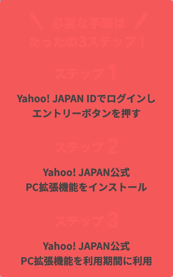 必要な手順はたったの3ステップ。ステップ1、Yahoo! JAPAN IDでログインし、エントリーボタンを押す。ステップ2、Yahoo! JAPAN公式 PC拡張機能をインストール。ステップ3、Yahoo! JAPAN公式 PC拡張機能を利用期間に利用。