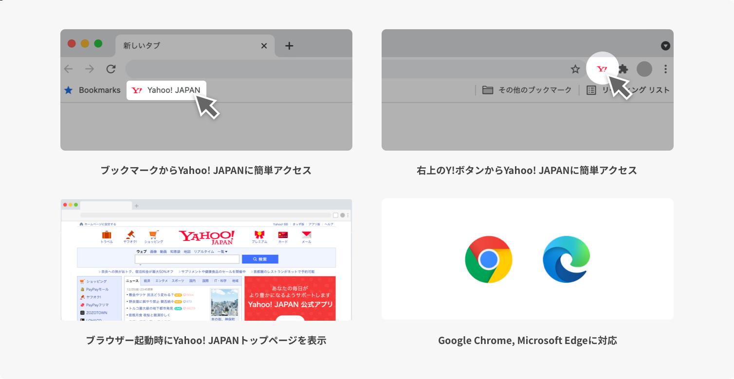 ブックマークからYahoo! JAPANに簡単アクセス。右上のY!ボタンからYahoo! JAPANに簡単アクセス。ブラウザー起動時にYahoo! JAPANトップページを表示。Google Chrome, Microsoft Edgeに対応。