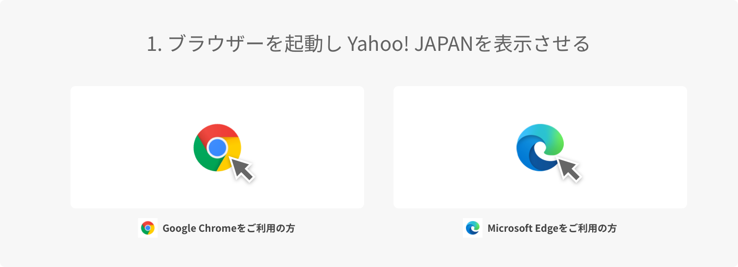 1. ブラウザーを起動し Yahoo! JAPANを表示させる