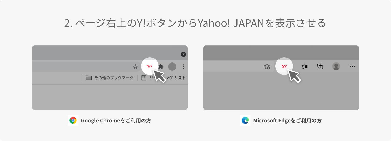 2. ページ右上のY!ボタンからYahoo! JAPANを表示させる