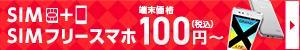 SIM+SIMフリースマホが100円