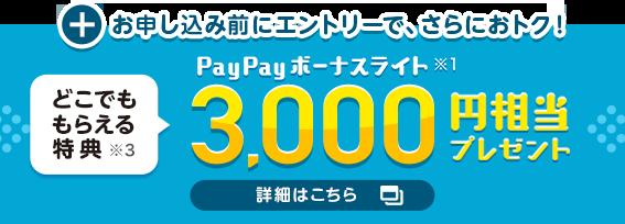 +お申し込み前にエントリーで、さらにおトク! どこでももらえる特典※3 PayPayボーナスライト※1 3000円相当プレゼント 詳細はこちら