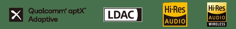Qualcomm aptX Adaptive LDAC Hi-Res AUDIO Hi-Res AUDIO WIRELESS