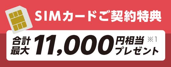 SIMカードご契約特典 合計最大11,000円相当※1プレゼント