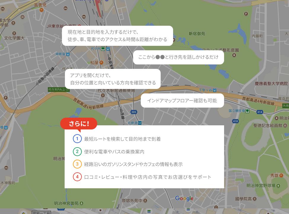 現在地と目的地を入力するだけで、徒歩、車、電車でのアクセス、時間、距離がわかる ここから●●と行き先を話しかけるだけ アプリを開くだけで、自分の位置と向いている方向を確認できる インドアマップフロアー確認も可能 さらに! 1.最短ルートを検索して目的地まで到着 2.便利な電車やバスの乗換案内 3.経路沿いのガソリンスタンドやカフェの情報も表示 4.口コミ・レビュー・料理や店内の写真でお店選びをサポート